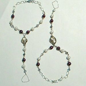 Jewelry - Glass Pearl & Crystal Barefoot Sandal Set